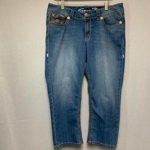 Seven7 Stitch Embellished Cropped Jeans Size 14